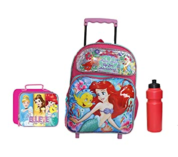 Amazon.com | New Ariel Mermaid Princess Rolling Backpack | Kids Backpacks