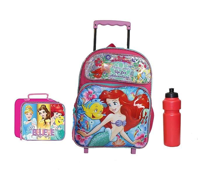 Amazon.com | New Ariel Mermaid Princess Rolling Backpack | Kids Backpacks