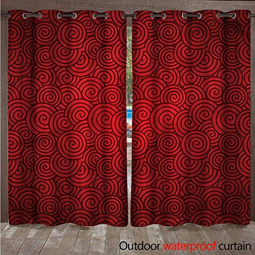 cobeDecor Red Home Patio Outdoor Curtain Spirals Chinese New Year W108 x L84(274cm x 214cm) (Spiral Peanut Red)
