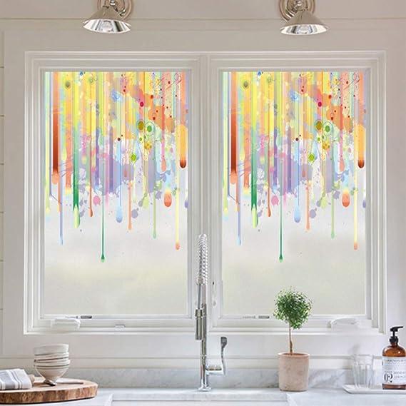 Color Película de cristal de la ventana,Ligero Opaco Mate Película de la ventana de privacidad,Cuarto de baño Sala de estar Pegatinas de cristal,Impermeable No-pegamento Película que oculta para-A W100xH60cm(39x24inch): Amazon.es: Hogar