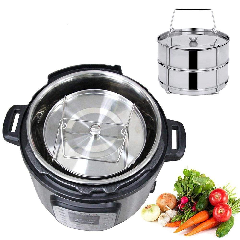 Shine-U Stainless Steel Steamer pot-304 Stackable Pressure Cooker Pans 2 Tier Steamer with Lid and Solid Handle Instant Pot Accessories Set with Food Steamer Basket 6 Quart