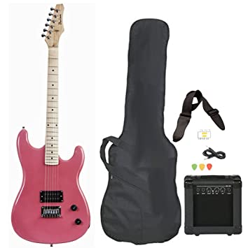 Rosa Tamaño Completo Guitarra Eléctrica con Amplificador, correa ...