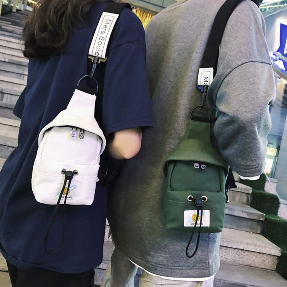 OATL Canvas Material Shoulder Messenger Bag Multi-Function Leisure Chest Bag Men and Women Hip-hop Personality Student Shoulder Bag Tide Brand Waist Bag Male 2019 New Black Green White Yellow