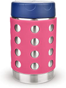 LunchBots Thermal 16 oz Triple Insulated Food Container - Hot 6 Hours or Cold 16 Hours - Leak Proof Thermos Soup Jar - All Stainless Interior - Navy Lid - Pink Dots