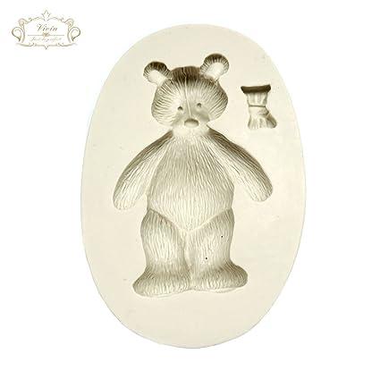 Teddy Bear – Oso de peluche con rosetón alfombrilla de diseño molde de silicona para decoración