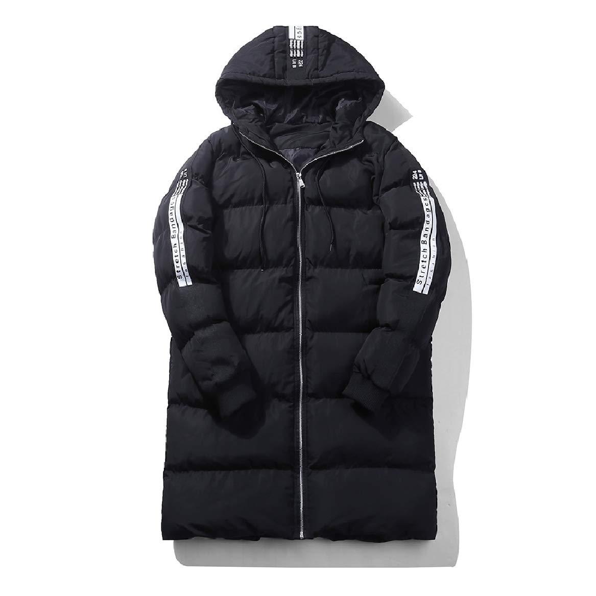 Sayah Mens Plus Size Windproof Juniors Mid-Long Hood Down Jackets