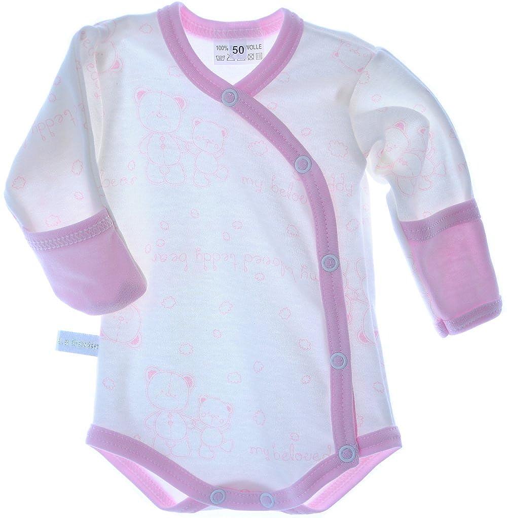La Bortini Baby Body Wickelbody mit Kratzschutz Umschlag/ärmel Creme Rosa Muster B/är Baumwolle