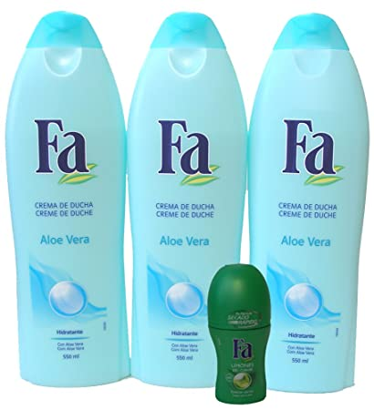 3 Bottles of Fa Shower Creme Aloe Vera 18 Oz. 550ml with 1.7 Oz. Roll on Deodorant