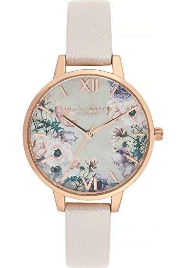Olivia Burton Reloj de Pulsera analógico Cuarzo One Size, Beige/Crema, Rosa