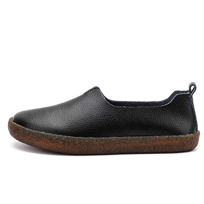 6064af73cea ALEADER Women s Classic Leather Flat Shoes Slip On Memory Foam Cushioned Loafers  Ladies Mocassins  Amazon.co.uk  Shoes   Bags