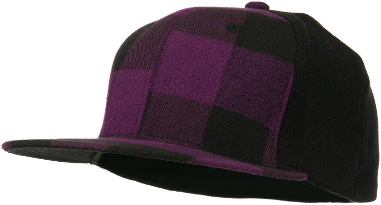 f62489e9870 DECKY Plaid Flat Bill Flex Fitted Cap - Purple OSFM at Amazon Men s ...