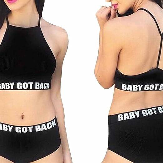e1924ab9f5 ZYooh Sexy Printing Padded Halter Bikini Push-up Chest Bathing Swimsuit Two  Piece Set Women