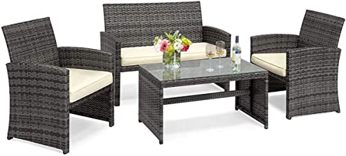 Goplus 4-Piece Wicker Patio Furniture Set