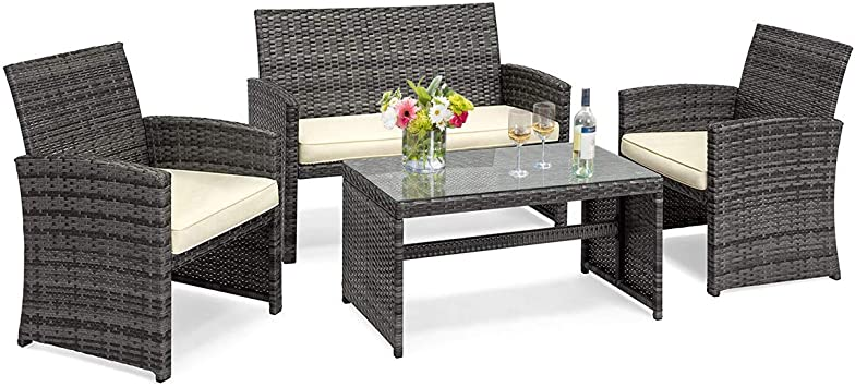 Amazon Com Goplus 4 Piece Wicker Patio Furniture Set With Weather Resistant Cushions And Tempered Glass Tabletop Rattan Sofa Conversation Set For Outdoor Garden Lawn Pool Backyard Mix Gray Garden Outdoor