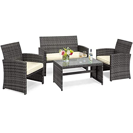 Goplus 4-Piece Rattan Patio Furniture Set Garden Lawn Pool Backyard Outdoor Sofa Wicker Conversation Set with Weather Resistant Cushions and Tempered Glass Tabletop Mix Gray