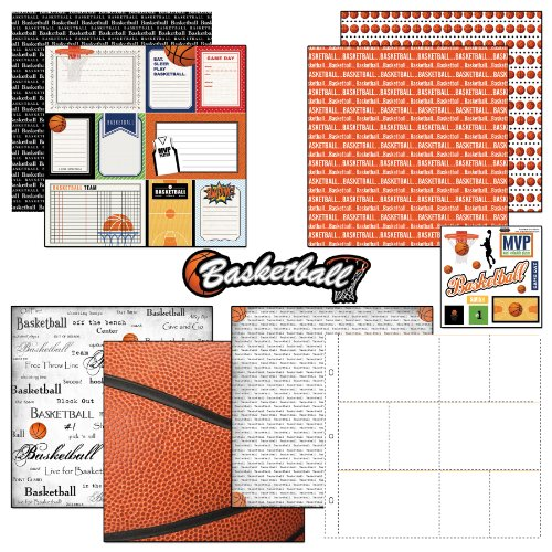 Scrapbook Customs Themed Paper and Stickers Scrapbook Kit, Basketball Journal