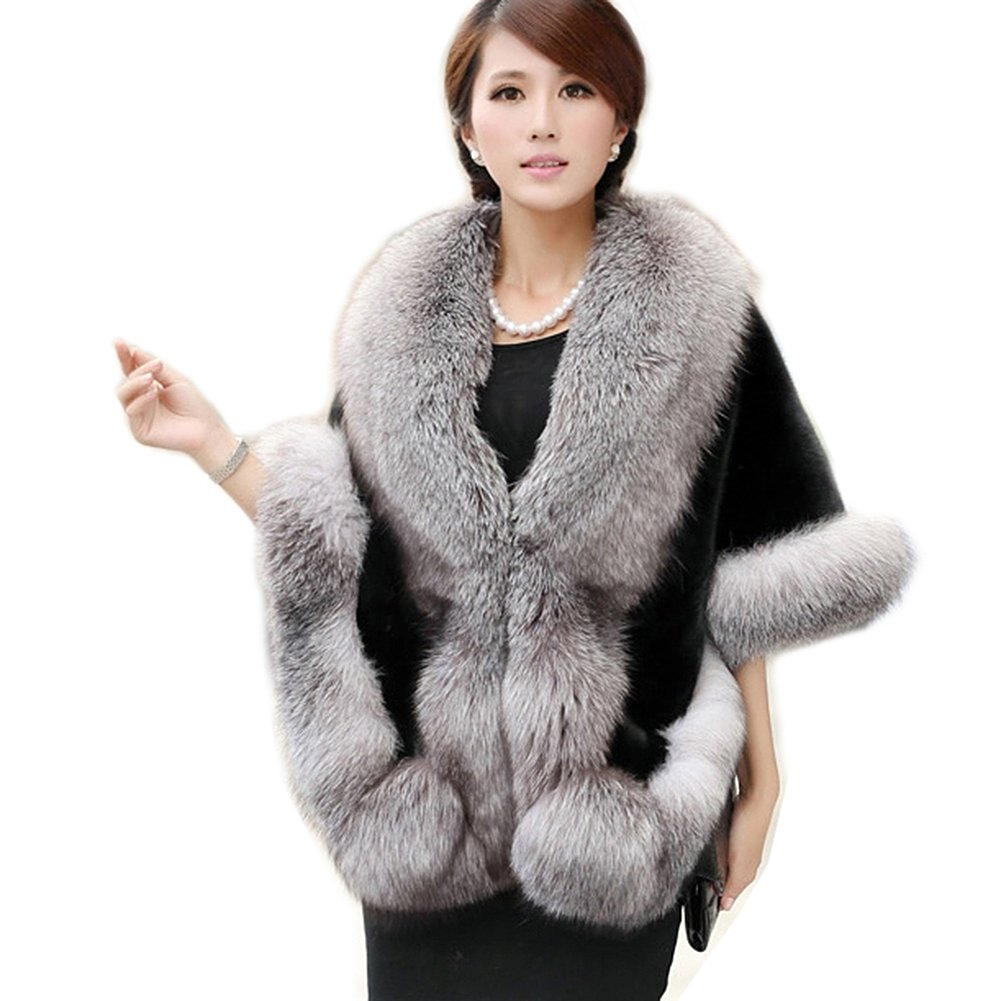 Roniky Women's Faux Fur Coat Wedding Cloak Cape Shawl For Evening Party (Grey Black)