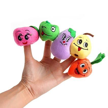 Dabixx 10 piezas de juguete de peluche para mascotas con diseño de frutas, verduras y