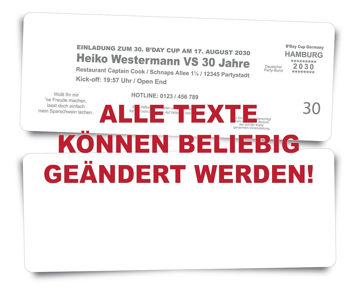 80 Geburtstagskarten Einladungskarten Einladungskarten Einladungskarten als Fussballticket -grau - Fussballkarten Ticket Eintrittskarte mit Abriss-Coupon B076GHW7WY | Online Shop Europe  b7eb0a