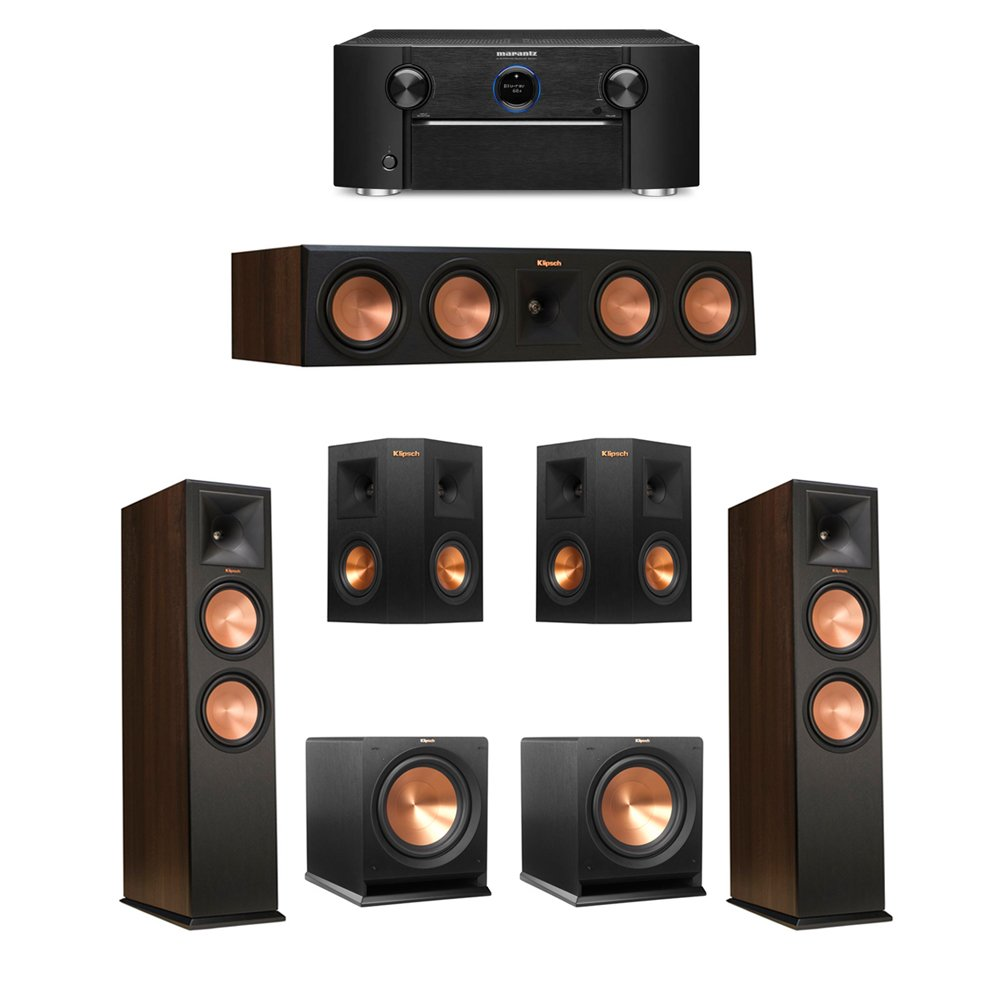 Klipsch 5.2 Walnut System with 2 RP-280F Tower Speakers, 1 RP-450C Center Speaker, 2 Klipsch RP-240S Ebony Surround Speakers, 2 Klipsch R-112SW Subwoofer, 1 Marantz SR7011 A/V Receiver