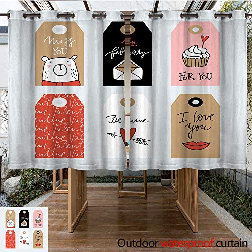 Curtain for Patio Set of Cute Hand Drawn Valentines Day or Wedding Gift Tags with Cute Bear Envelope Lips and Cupcake Handwritten Text let W63 x L72 ()
