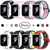 8-Pack BMBMPT iWatch Soft Silicone Sport Strap Replacement Band Compatible with iWatch Series 4,Series 3,Series 2,Series 1,Nike+,Sport Edition