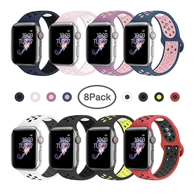 BMBMPT Compatible with iWatch Bands 38mm 40mm 42mm 44mm Soft Silicone Sport Strap Replacement Band for Apple Watch Series 4,Series 3,Series 2,Series ...