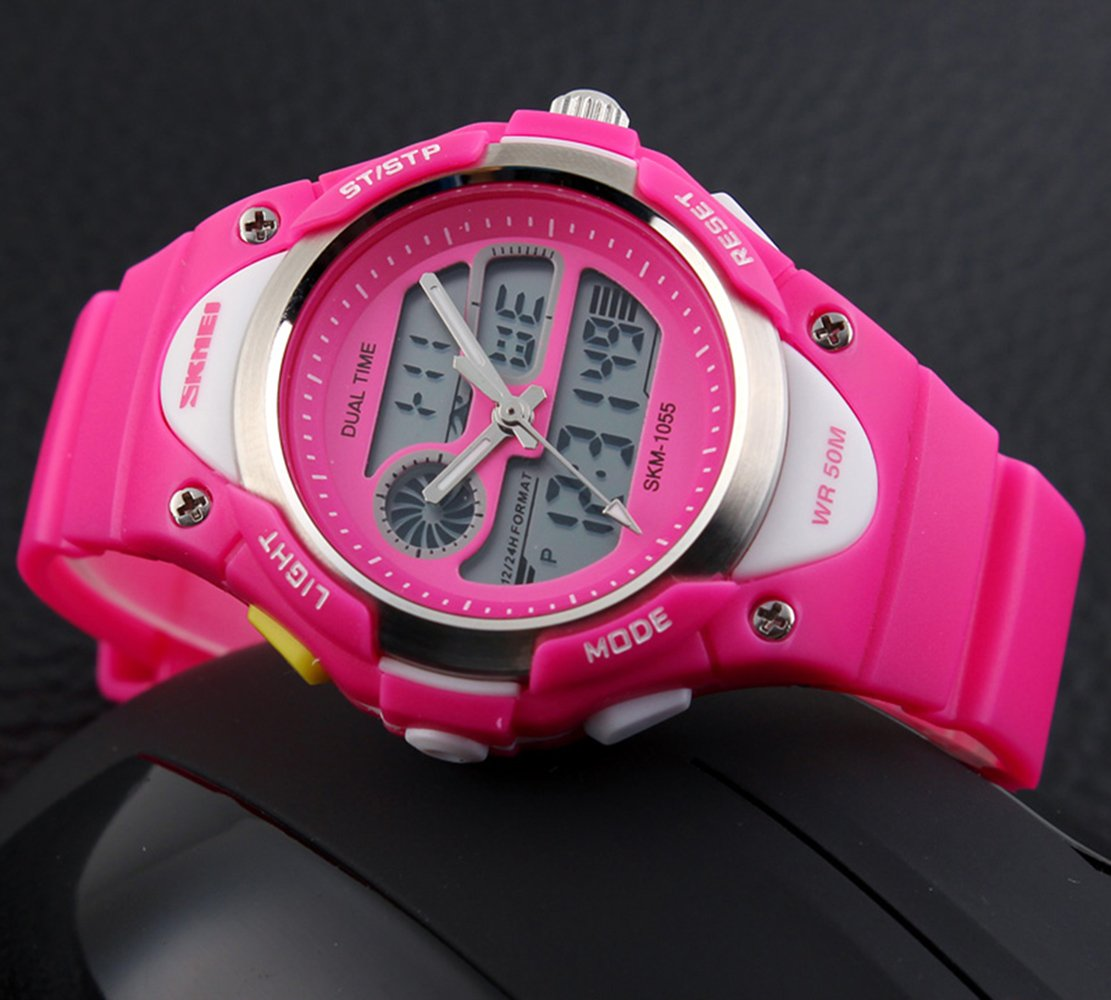 Girls Watches Digital Analog Dual Time Display Watch for Teens Youth Waterproof Rose by AMCAS (Image #7)