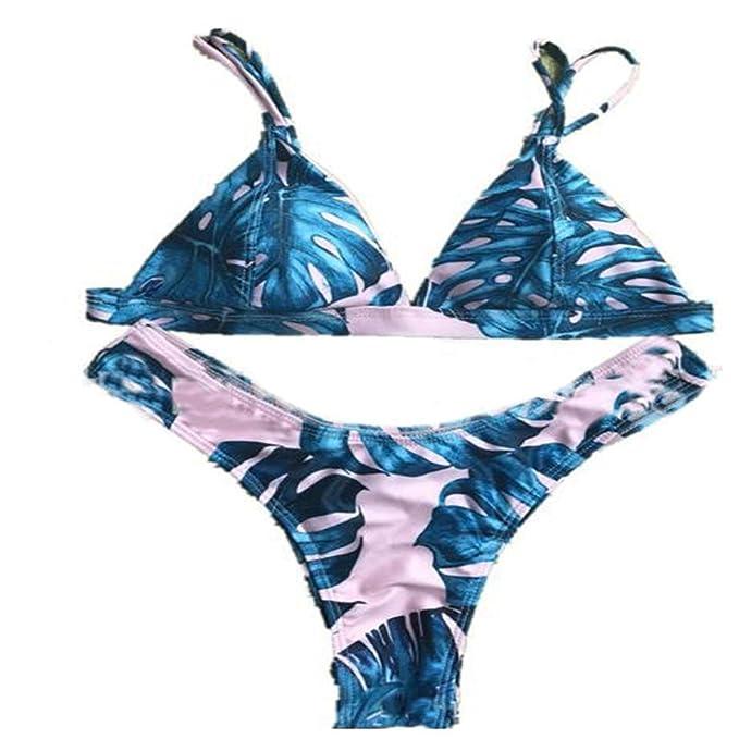 cd695a7ac8 Amazon.com: Women's Strappy Cross Criss Bikini Set - Two Pieces Halter  Triangle Print Bathing Suits Low Rise Sexy Bottom Swim Wear: Clothing