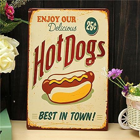Pink Lizard Hot Dog de Chapa diseño Retro Pintura Metales ...