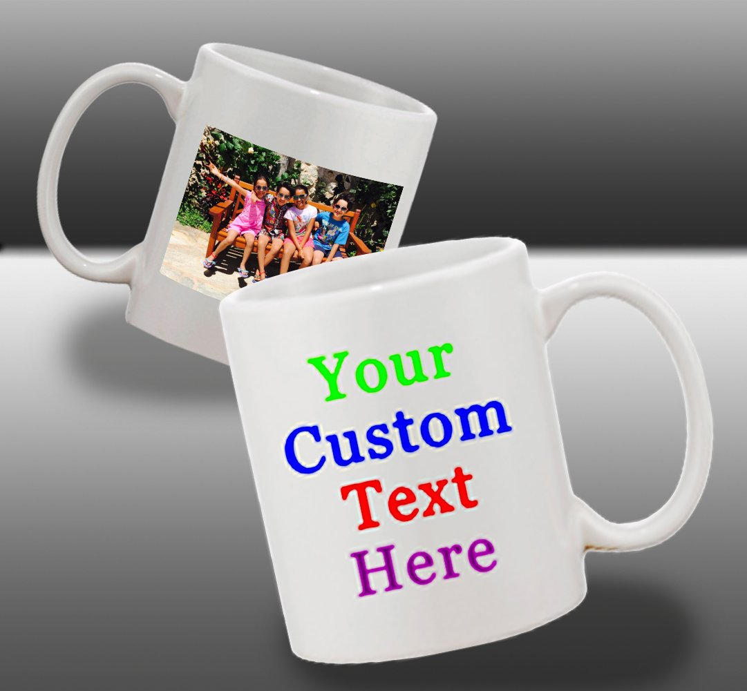 Personalized Add Your Custom Text and Photo White Ceramic 11 Oz Coffee Mug Customizable Gift by Hat Shark (Image #5)