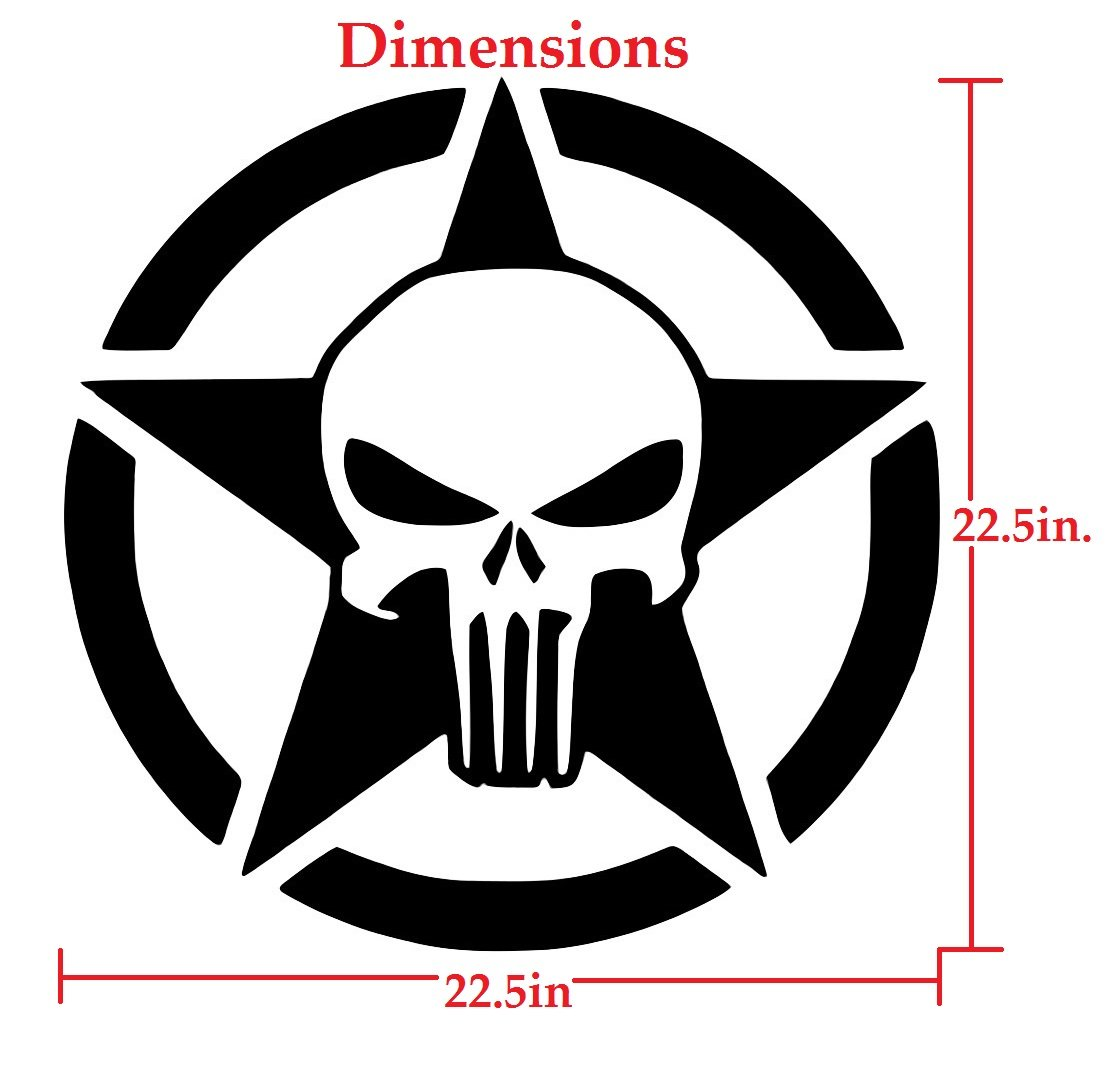 Oscar mike army star punisher decal vinyl sticker graphics for cars trucks suv vans walls windows laptopblack22 5 inchuri467