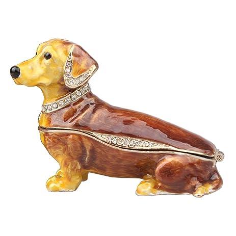 Amazoncom Crystals Jeweled Dachshund Dog Trinket Jewelry Box