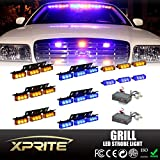Xprite 54 LED & 18 LED Emergency Vehicle Strobe Warning Lights/Lightbars For Deck Dash Grill Windshield Headliner (Blue & Yellow/Amber)