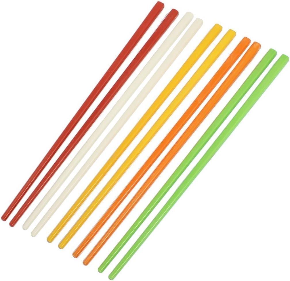 SODIAL(R) 5 Pares Palillos chinos de plastico de colores surtidos 8,7