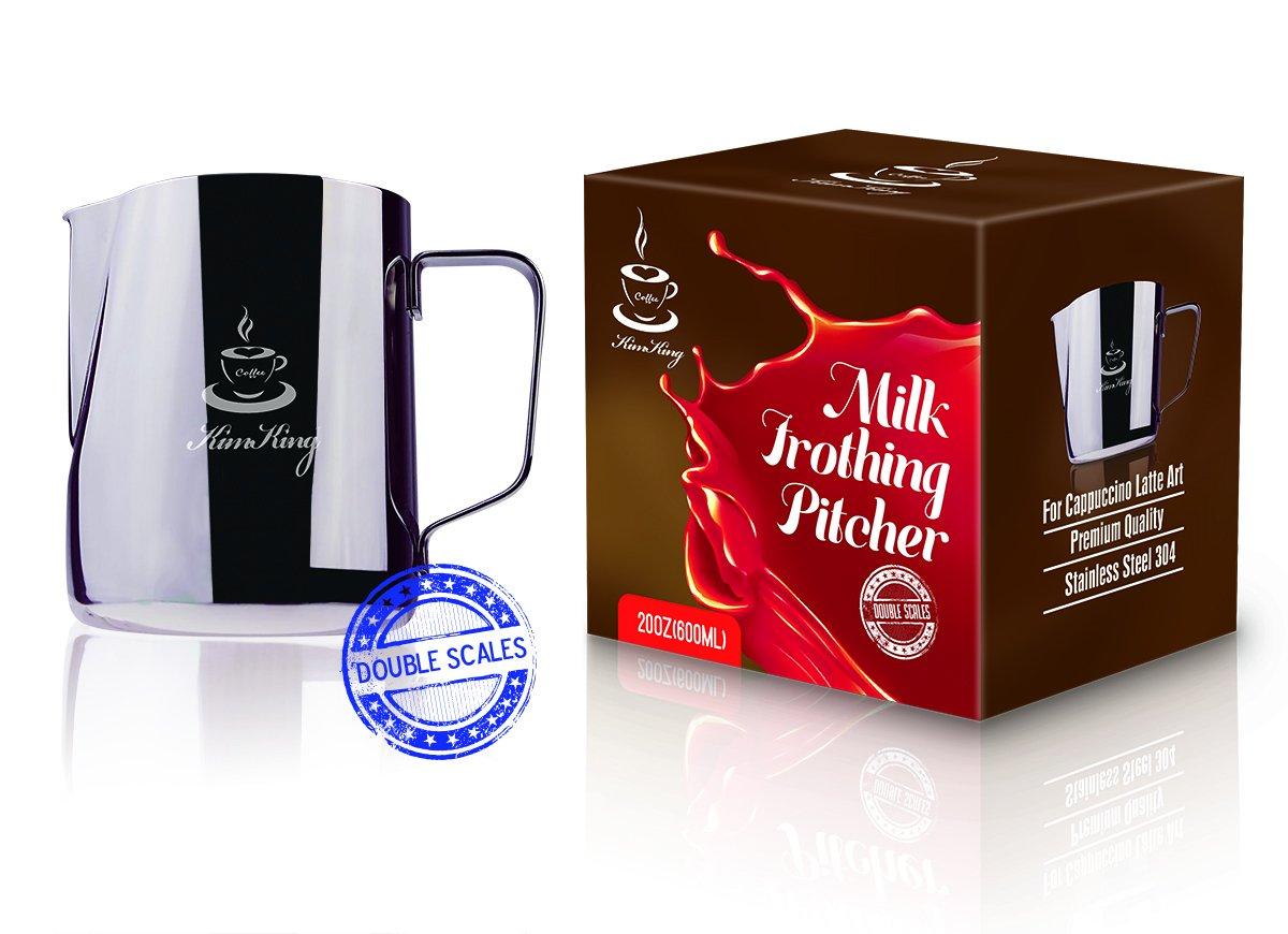 KimKing Lacciaio inossidabile latte- 20 oz (600ML) la schiuma di latte lanciatore misurino scale Espresso Cappuccino di Latte Caffè Latte Art Maker: ...