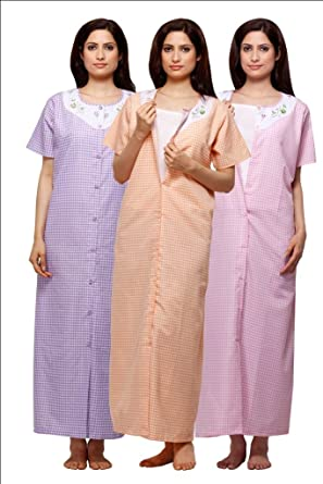 Trendy Comfortable Round neck Terry Cotton Half Sleeve Nighty Pack of 3   Amazon.in  Clothing   Accessories f9c49084e
