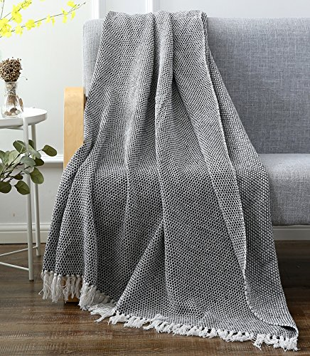 SLPR 100% Cotton Indoor/Outdoor Machine Washable Diamond Throw (50'' x 60'', Black Diamond) | for Beaches Patio BBQ Picnic Everyday Use by SLPR