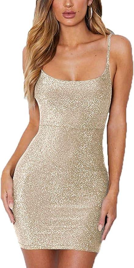Polly Online Vestido sin Espalda con Cordones para Mujer Vestido Ajustado con Purpurina Mini Vestido