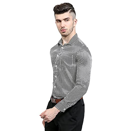 1418dc7636f0 WEEN CHARM Men's Casual Long Sleeve Vertical Striped Slim Fit Button Down  Dress Shirts Black White