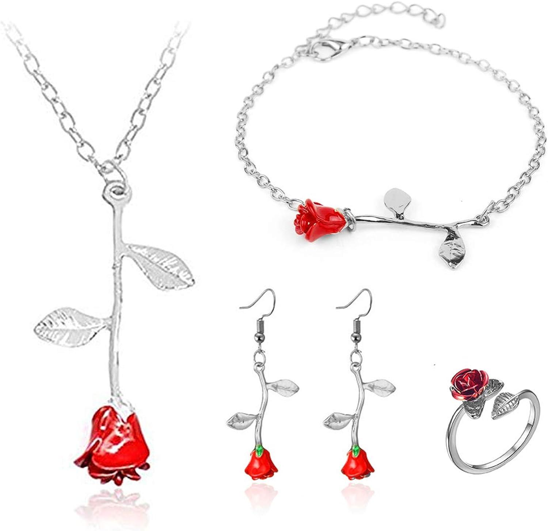 Dcfywl731 4Pcs 3D Rose Flower Necklace Bracelet Earring Ring Set Dainty Rose Leaf Pendant Necklace Dangle Earrings for Women