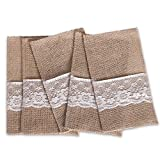 Somnr 4''x8'' Hessian Burlap Lace Wedding Cutlery Holder Pouch Rustic Decorations Favor ( Pack of 50)