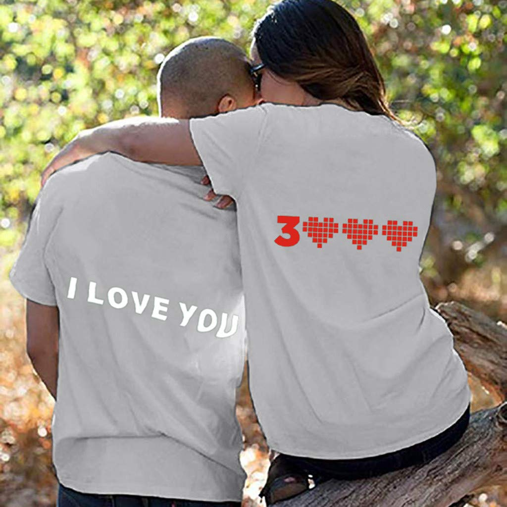 Couple T-Shirt I Love You 3000 Printed Plus Size Short Sleeve Shirt for Women and Men Casual Slim Fit Unisex Blouse Tee