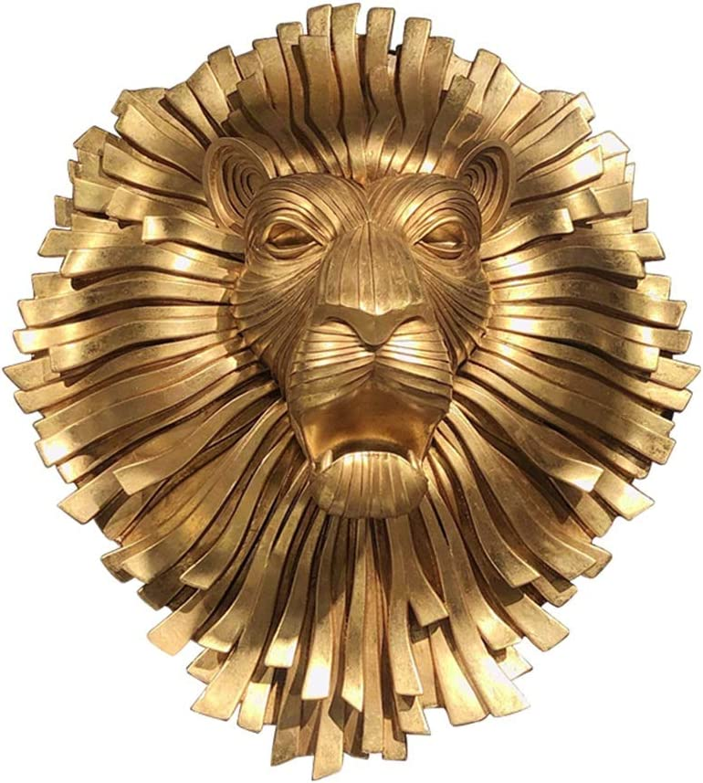 Wall decoration Wall Sculptures Wall Sculptures Wall Art 3D Resin Wall Sculpture Lion Head in Living Room Dinner Animal Head Wall Art (Color : Gold, Size : 6356.7cm)