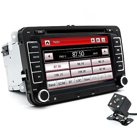 Junsun - Radio multifunción con Bluetooth para coche (pantalla táctil de