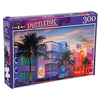 Art Deco Buildings on Ocean Drive, Miami, Fl. - 300 Piece Jigsaw Puzzle: Toys & Games