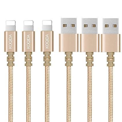Amazon.com: KOQIDA Cargador de teléfono, paquete de 3 cables ...