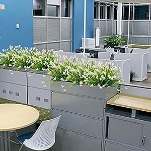 HOGADO Artificial Shrubs, 4pcs Fake Calla Lily Faux Plastic Greenery Plants Flower Arrangement for Home Kitchen Dining Room Hanging Planter Garden Cream 5