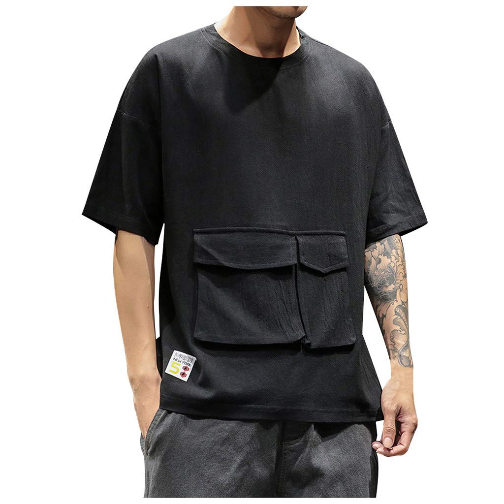 iLXHD Men's T-Shirts Summer Fashion Casual Pure Color Pocket Crew Neck Short Sleeves T-Shirts Tops Black