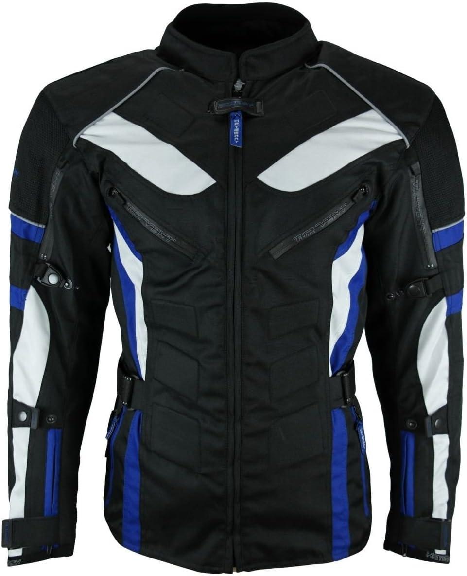 Storm Motorrad Schutzjacke atmungsaktiv und wasserdichtes Futter Schwarz 3XL